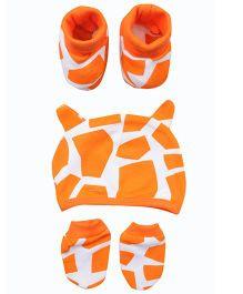 bio kid Printed Cap Mittens & Booties Set - Orange