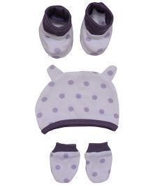 bio kid Polka Dotted Cap Mitten & Booties Set - White & Purple