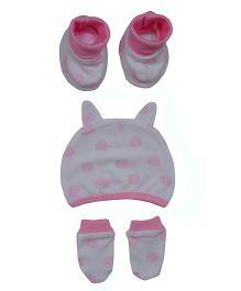 bio kid Polka Dotted Cap Mitten & Booties Set - White & Pink