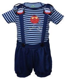 bio kid Dungaree With Striped Envelope Shoulder T-Shirt - Navy Blue