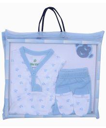 bio kid Infant Cotton Clothing Gift Set Pack Of 5 - White & Blue