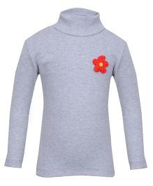 bio kid Full Sleeves Sweat Top Floral Applique - Grey