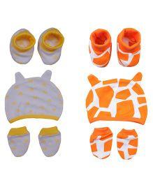 bio kid Multi Print 2 Sets Of Caps Mittens & Booties - Yellow & Orange
