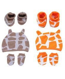 bi kid Printed Set Of 2 Caps Mittens & Booties Set - Beige & Orange