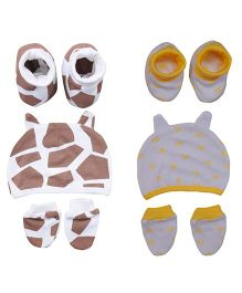 bio kid Multi Print 2 Sets Of Caps Mittens & Booties - Yellow & Beige