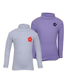 bio kid Full Sleeves Sweat Top Set of 2 - Purple Grey