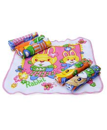 Mee Mee Napkins Rabbit And Floral Print Set Of 6 - Multicolor