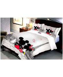 Uber Urban Disney Mickey Minnie In Paris Cotton Double Bed Sheet And 2 Pillow Covers - White And Multicolor
