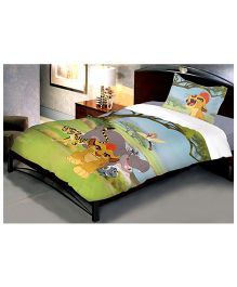 Uber Urban Disney Simba The Lion Cotton Single Bed Sheet With 1 Pillow Cover - Multi Color