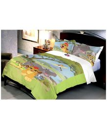 Uber Urban Disney Simba The Lion Double Bed Sheet With 2 Pillow Covers - Multi Color