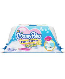Mamy Poko Pure & Soft Baby Wipes With Pop Up Box & Mild Fragrance- 50 Pieces