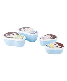 Lunch Box Pack of 4 Family Print - Blue