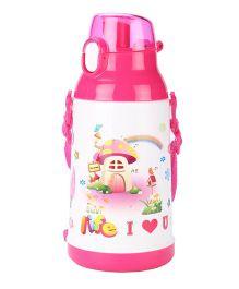 Life I Love U Print Sipper Water Bottle Pink - 600 ml