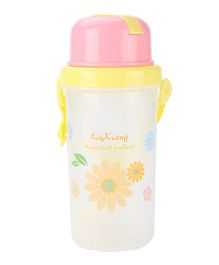 LinXiang And Flower Print Water Bottle Yellow And Pink