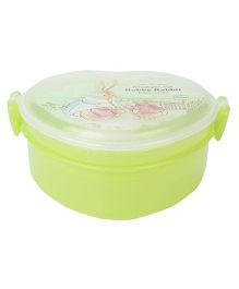 Lunch Box With Spoon Rabbit Print - Green
