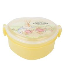 Lunch Box With Spoon Rabbit Print - Yellow