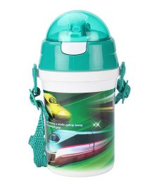 Bullet Train Print Sipper Water Bottle Green - 450ml
