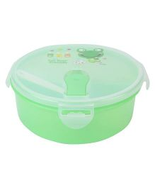 Lunch Box With Spoon Frog Print - Green
