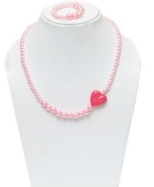 D'chica Little Heart Necklace & Bracelet Set - Pink