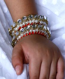D'chica Kundan & Pearl Work Bangle Set - Red