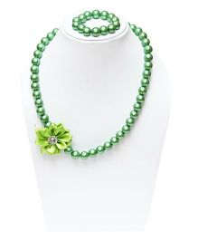 D'chica Chic Beaded Flower Necklace & Bracelet Set - Green