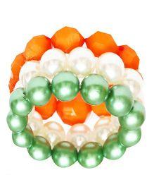 D'chica Set Of 3 Beaded Bracelets - Orange Green & White