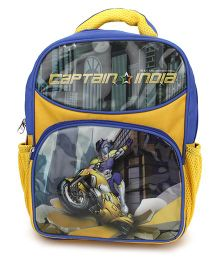Captain India School Bag Yellow and Blue - 14 Inch