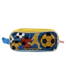 PEP INDIA Pencil Pouch Soccer Print - Yellow and Blue