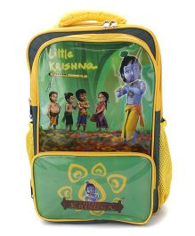 Little Krishna School Bag Green and Yellow - 17 Inches