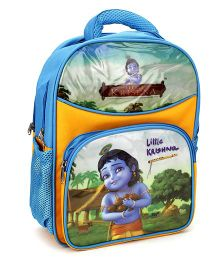 Little Krishna School Bag Blue and Yellow - 14 Inch