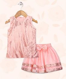 Peaches & Cream by Babyhug Embellished Top & Skirt Party Set - Peach