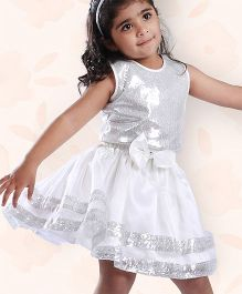 Peaches & Cream by Babyhug Embellished Top & Skirt Party Set - Ivory