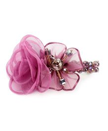 Anaira Barrette Clip with Rose Pattern Lace - Purple