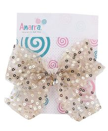 Anaira Barrette Clip with Sequinced Bow - Golden