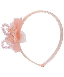 Anaira Hair Band with Bow and Pearls - Peach