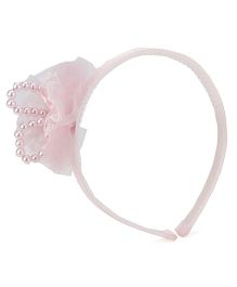 Anaira Hair Band with Bow and Pearls - Pink