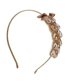 Anaira Hair Band Floral Stone Design - Golden