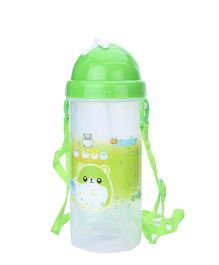 Sipper Bottle With Pop Up Straw Hamster Friends Print - Green