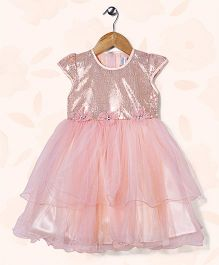 Peaches & Cream by Babyhug Cap Sleeves Embellished Party Frock - Peach