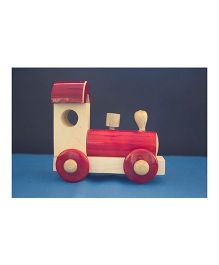 Playthings Wooden Train Engine Toy - Red