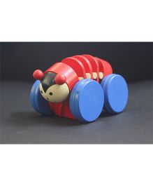 Playthings Pull Along Wooden Caterpillar Toy - Red And Blue