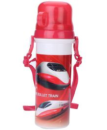 Sipper Bottle With Flip Open Lid and Cup Bullet Train Print - Red