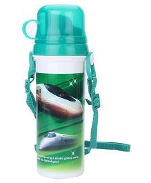 Sipper Bottle With Flip Open Lid and Cup Bullet Train Print - Green