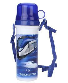 Sipper Bottle With Flip Open Lid and Cup Bullet Train Print - Blue