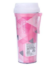 Fashion Plastic Cup Triangle Print - Pink