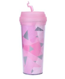 Fashion Plastic Tumbler Multi Triangle Print Pink- 500 ml