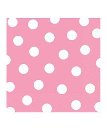 Party In A Box Amscan Dots Gold Napkins 2 Ply Pink - Pack Of 16