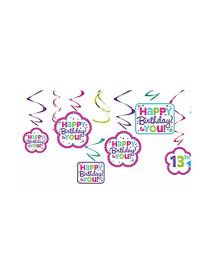 Party In A Box Amscan Swirl Decorations Kit - Purple And Teal