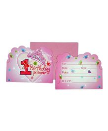 Funcart Sweet At One Princess Theme Invitation Cards - Pack of 6