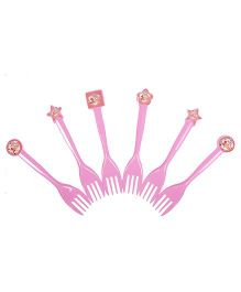 Funcart Sweet At One Princess Theme Forks Pink - Pack of 6